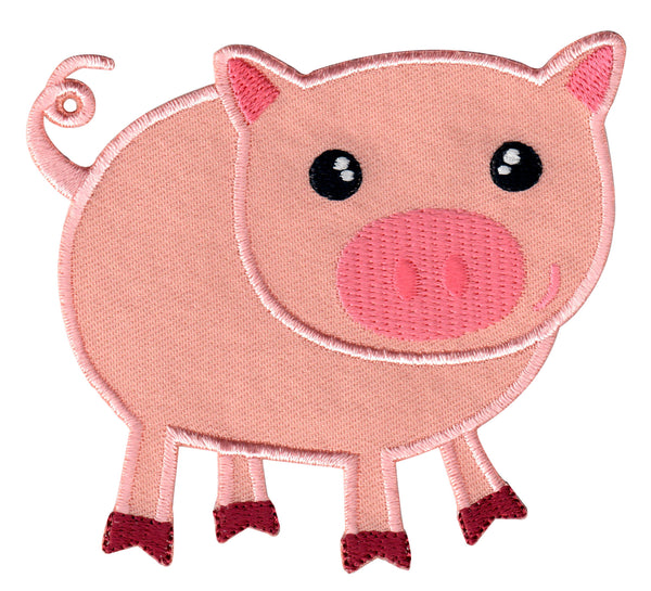 Pig Iron-On Patch and Embroidered Sew On Appliqué for Kids