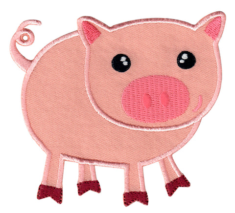 Pig Iron On Patch - Embroidered Sew On Applique for Kids