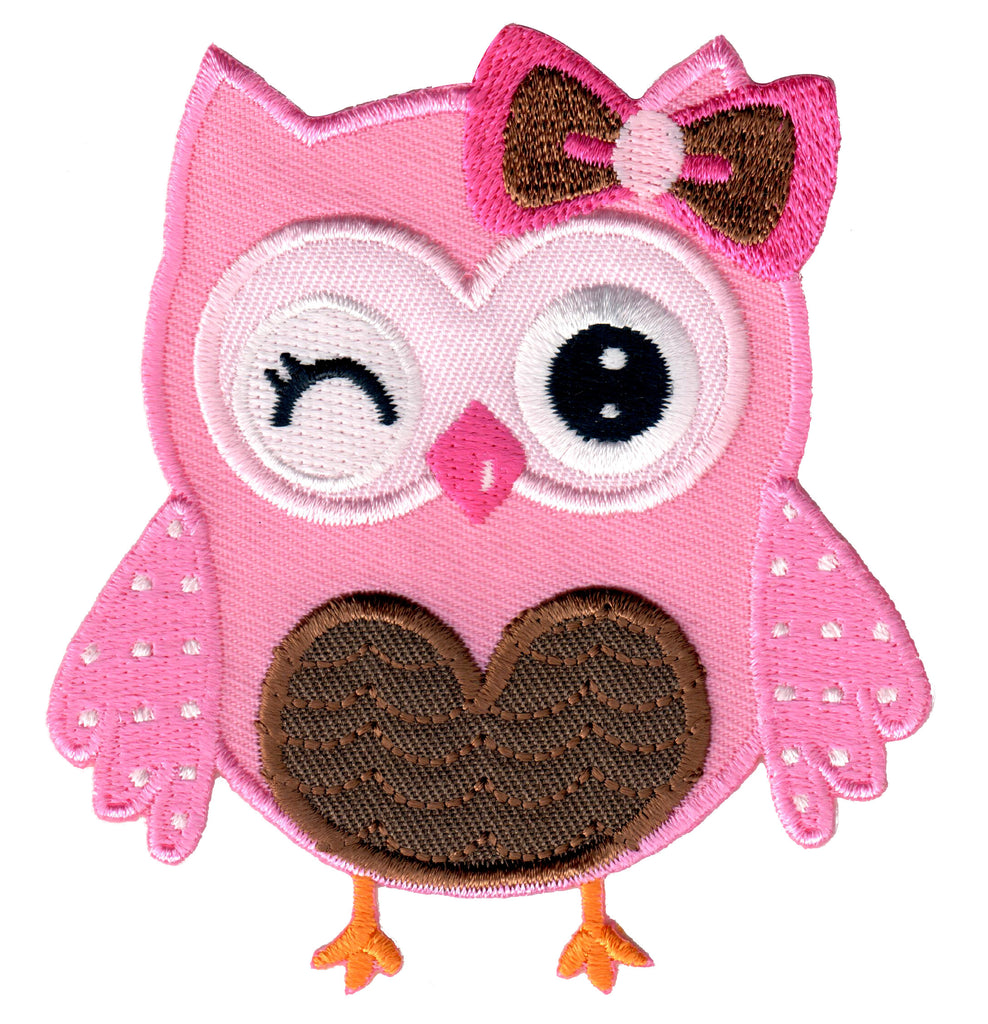 Pink Owl Iron On Patch and Embroidered Sew On Appliqué for Kids
