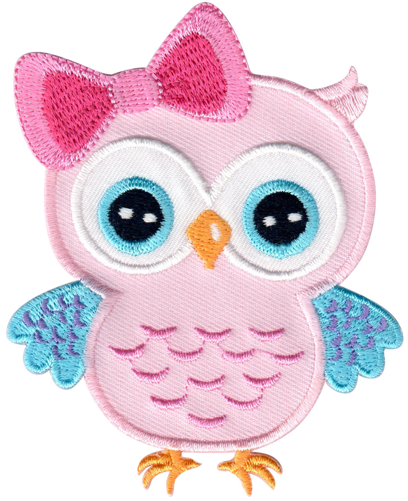Pink Blue Owl Iron On Patch and Embroidered Sew On Appliqué for Kids