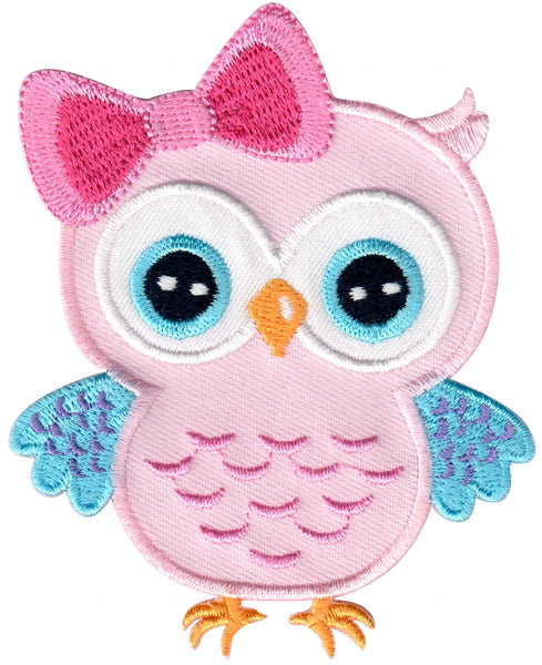 Pink Owl Iron-On Embroidered Appliqué Patch for Kids