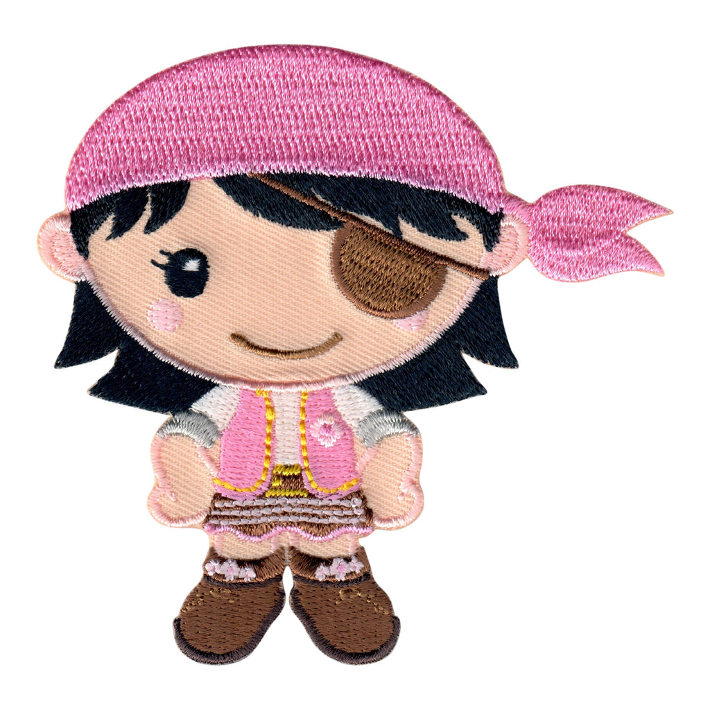 Girl Pirate Iron-On Patch and Embroidered Sew On Appliqué for Kids