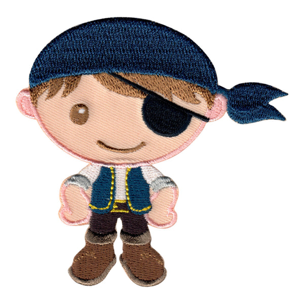 Pirate Iron-On Patch and Embroidered Sew On Appliqué for Kids