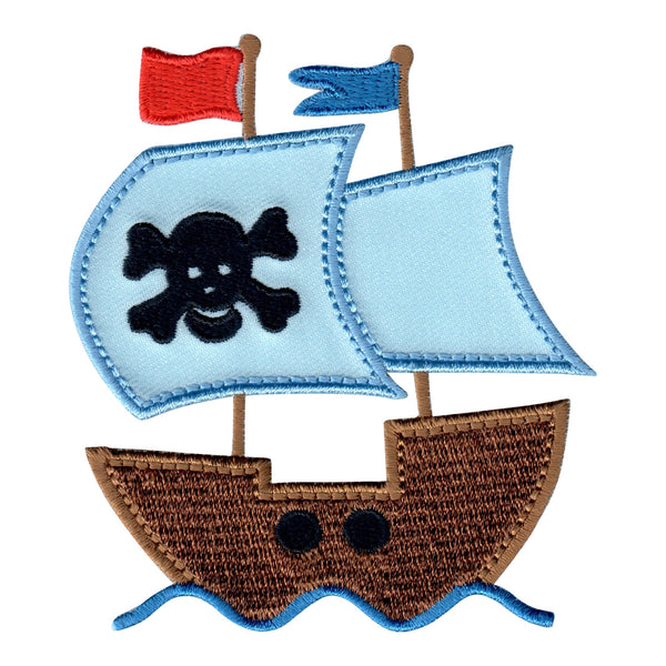 Pirate Ship Iron On Patch and Embroidered Sew On Applique for Kids