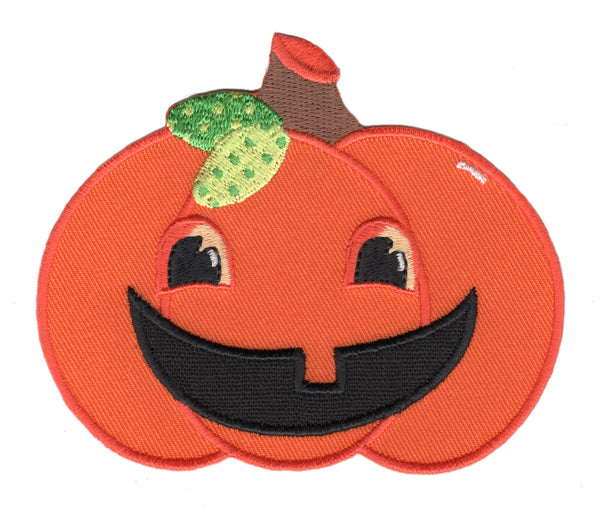 Pumpkin Iron On Patch and Embroidered Sew On Applique for Kids - jack 0'-lantern