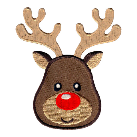 Reindeer Iron On Patch and Embroidered Sew On Applique - for Christmas