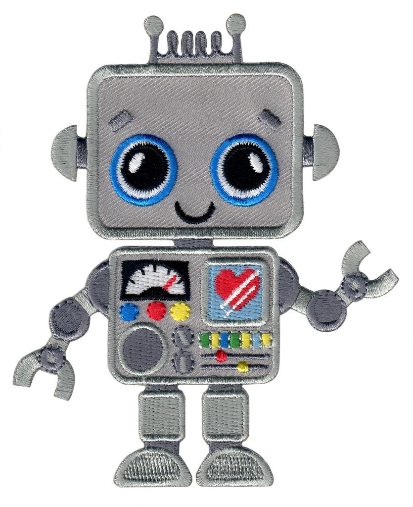 Robot Iron On Patch and Embroidered Sew On Applique for Kids