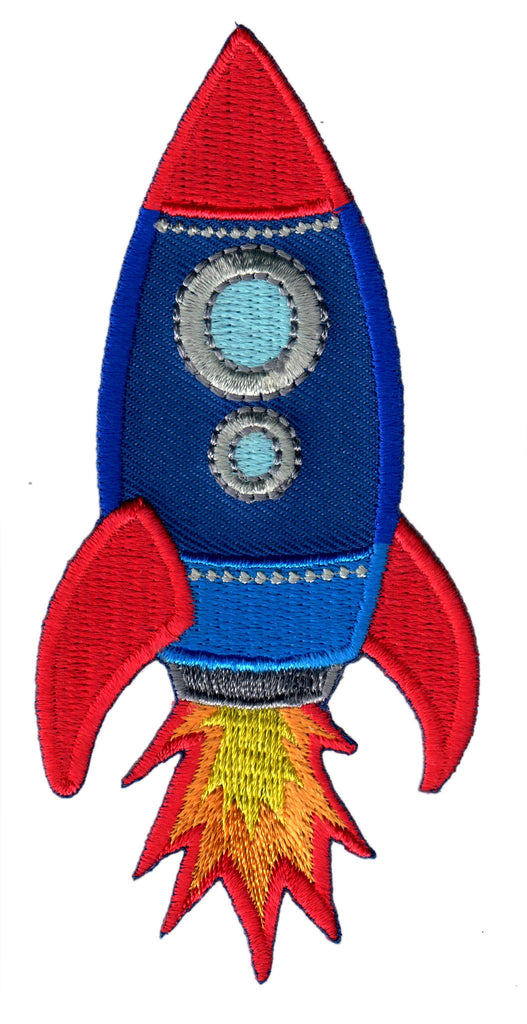 Rocket Iron On Patch and Embroidered Sew On Applique for Kids Clothing