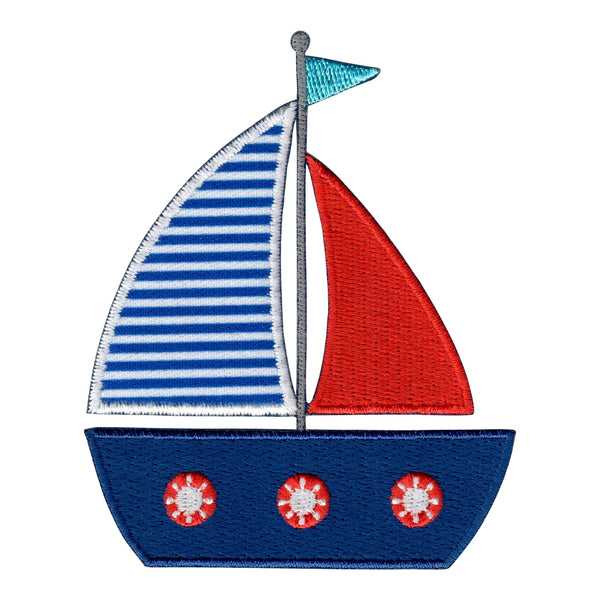 Sailboat Iron-On Patch and Embroidering Sew On Applique for Kids Clothing