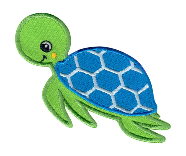 Sea Turtle Iron On Patch and Embroidered Sew On Applique for kids clothing