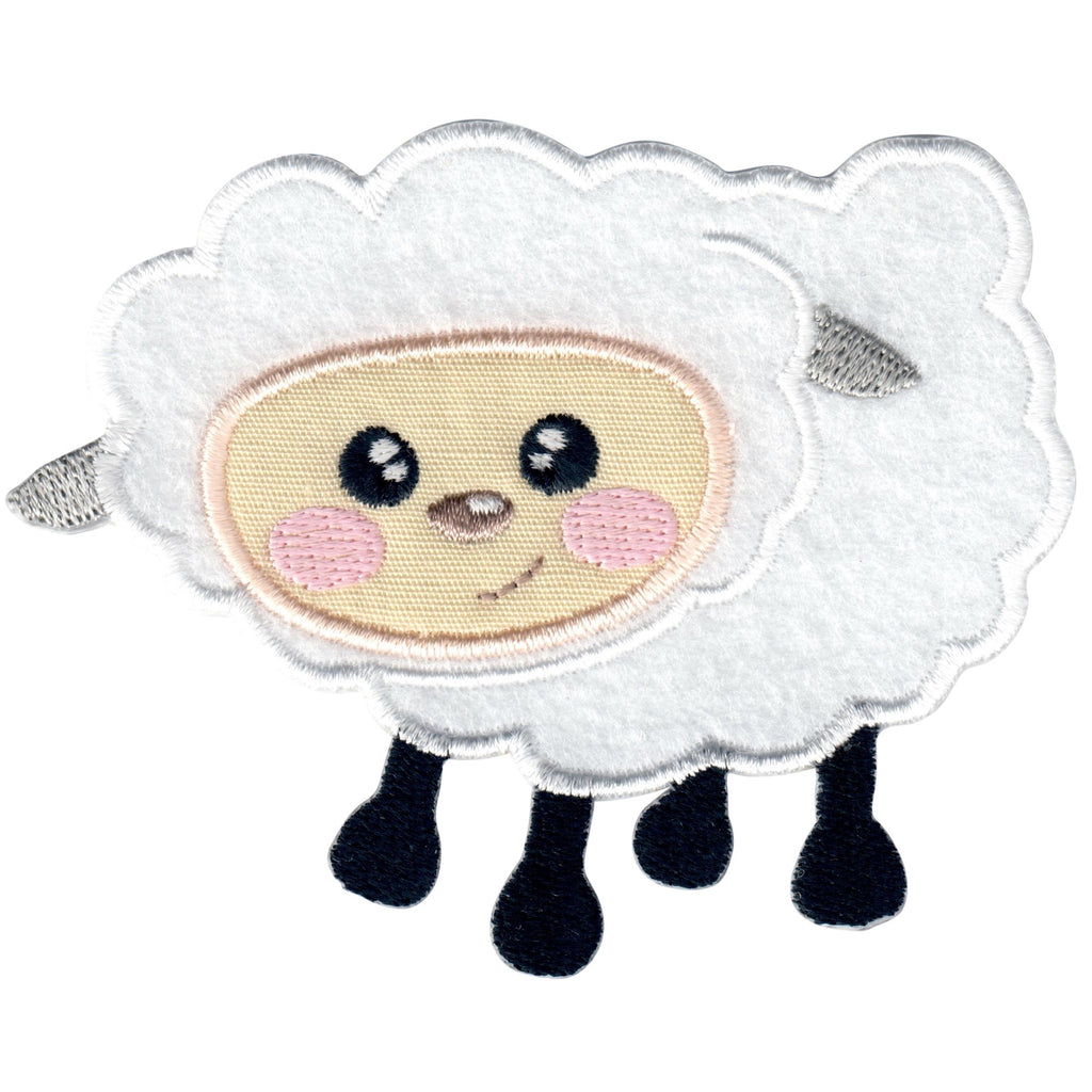 Sheep Iron-On Patch and Embroidered Sew On Applique for Kids Clothing