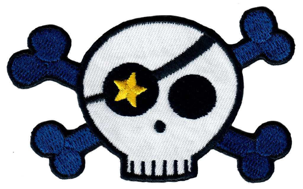 Skull Iron On Patch and Embroidered Sew On Applique for Kids Clothing