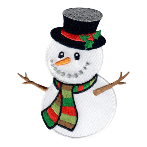 Snowman Iron-On Embroidered Appliqué Patch for Kids Winter