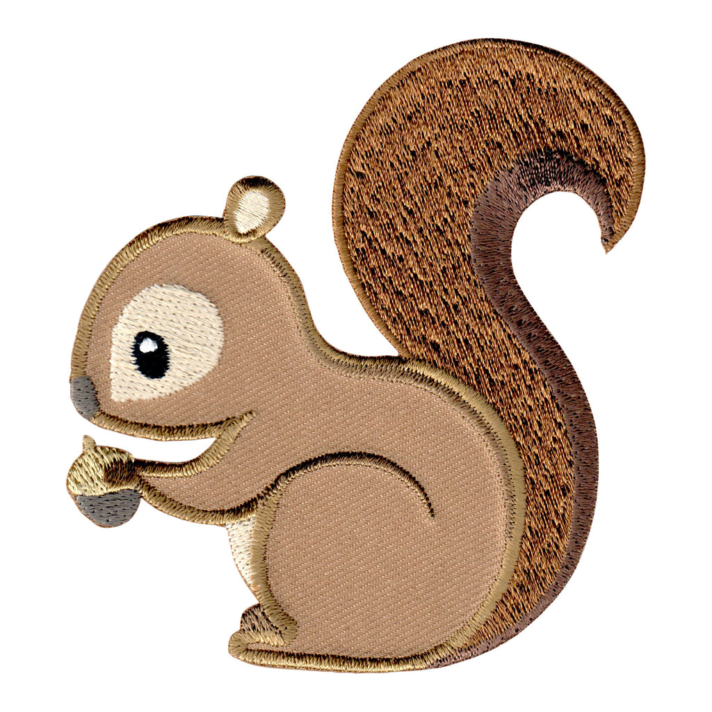 Squirrel embroidered iron on patch and sew on applique for kids clothing