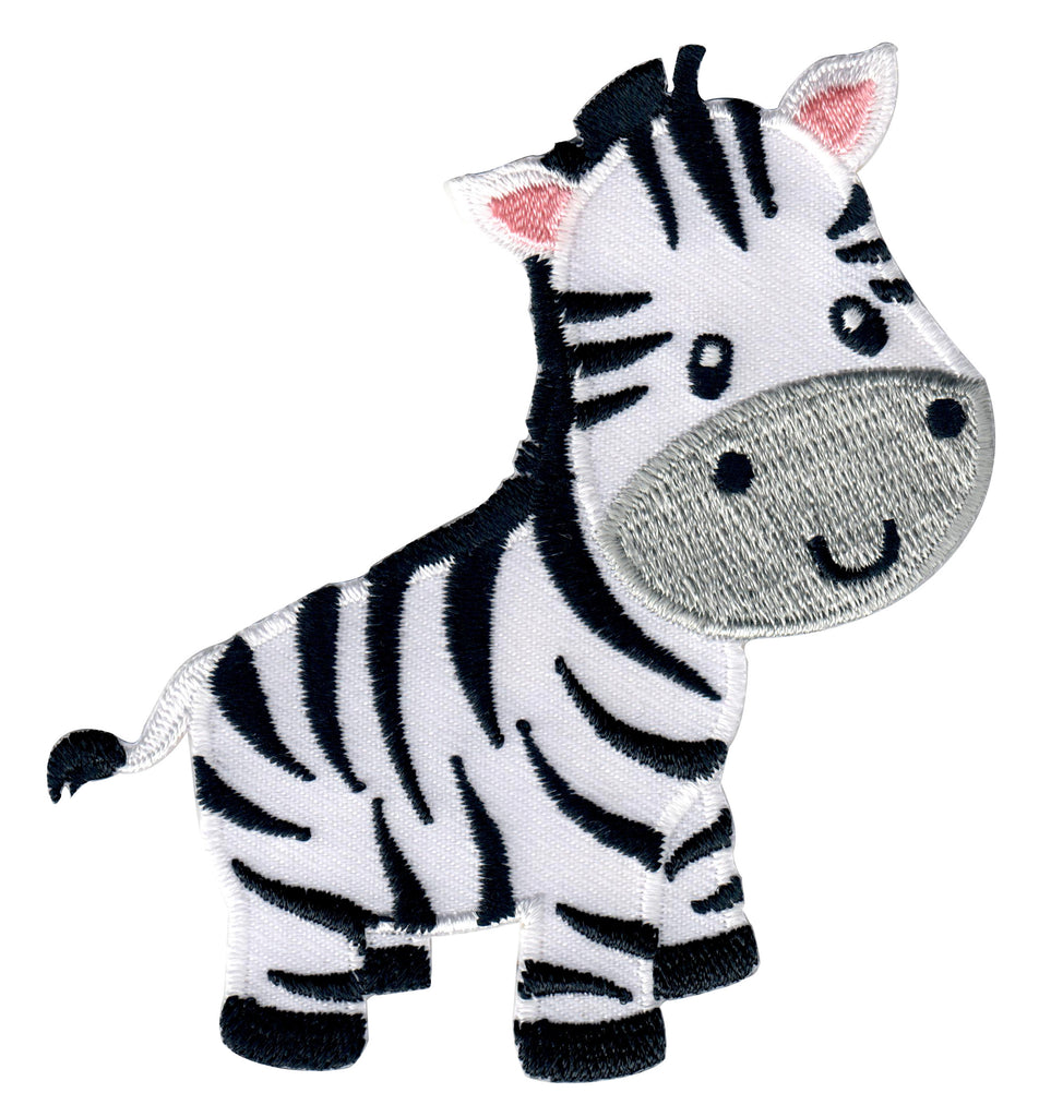 Zebra Iron On Patch or Embroidered Sew On Applique for Kids Clothing