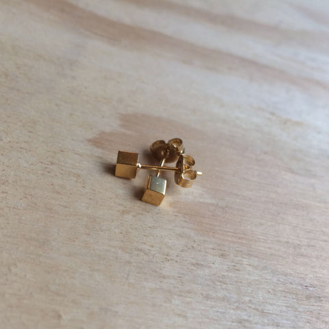 Cube Studs, gold plated