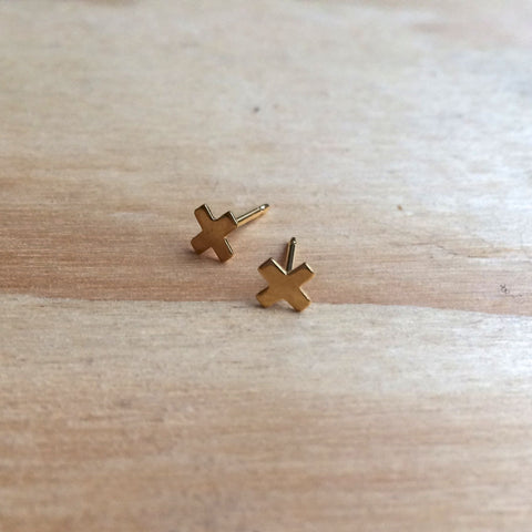 X Studs, gold plated