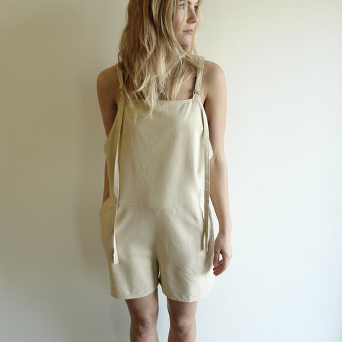 Short Strap Overall, Sand Raw Silk