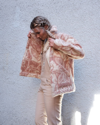 Ardmore Jacket, One of a Kind, Vintage Wool, Taupe / Pink