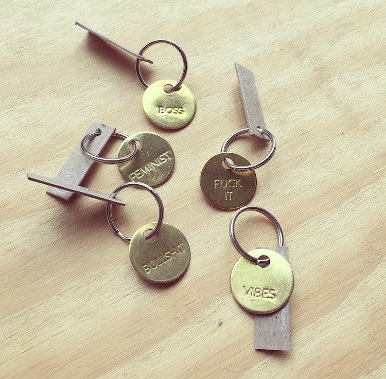 Hand Pressed Brass Key Tags