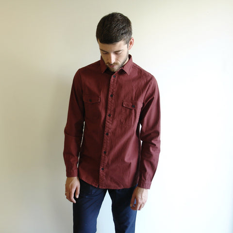 Burgundy Two Pocket Button Down