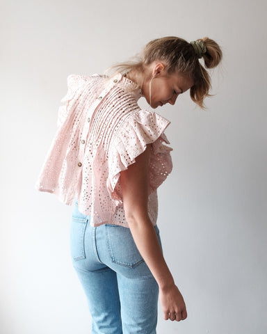 Broderie Anglaise Top, Pink