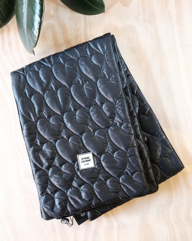 Quilted Logo Scarf, Black