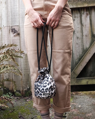 Tech Drawstring Purse, Leopard