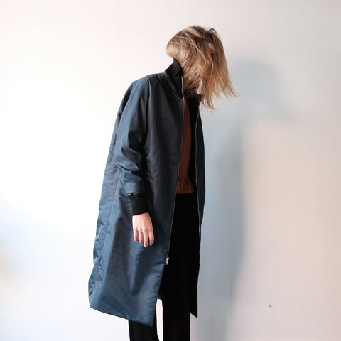 Blob Coat, Navy Flight Satin