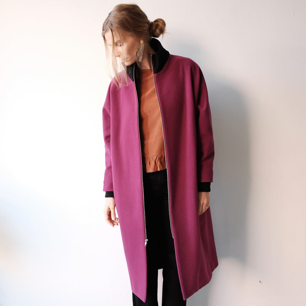 Blob Coat, Magenta Melton Wool