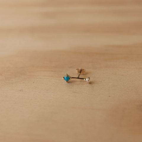 Turquoise and Pearl Orbit Stud