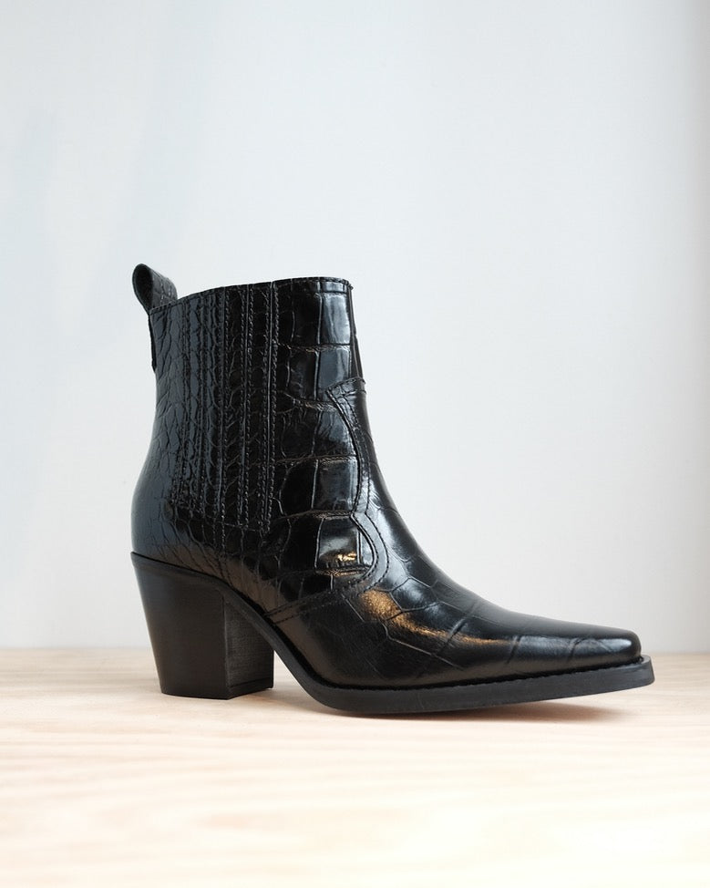 Callie Boots, Black Crocodile Leather