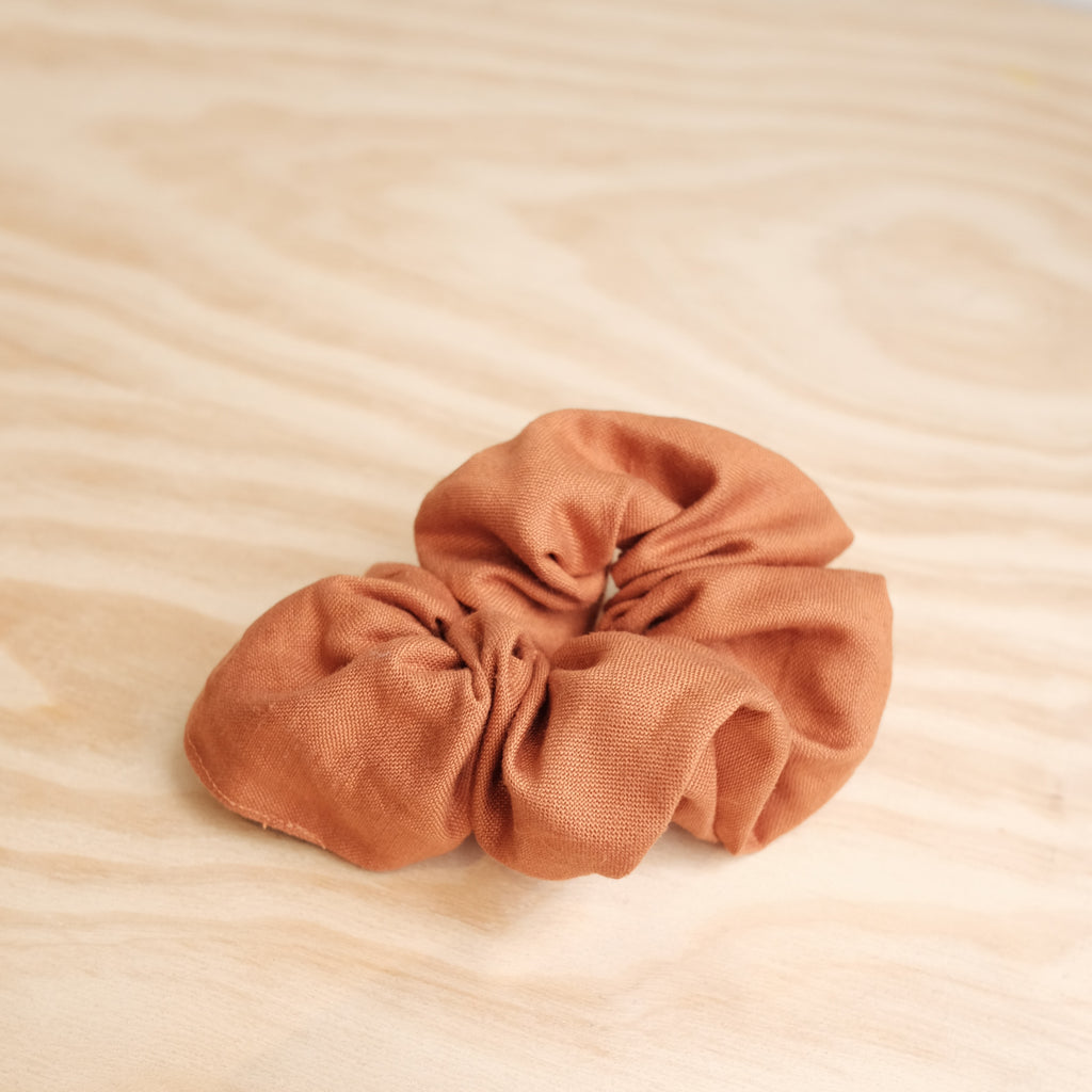 Scrunchie, Bright Rust Linen