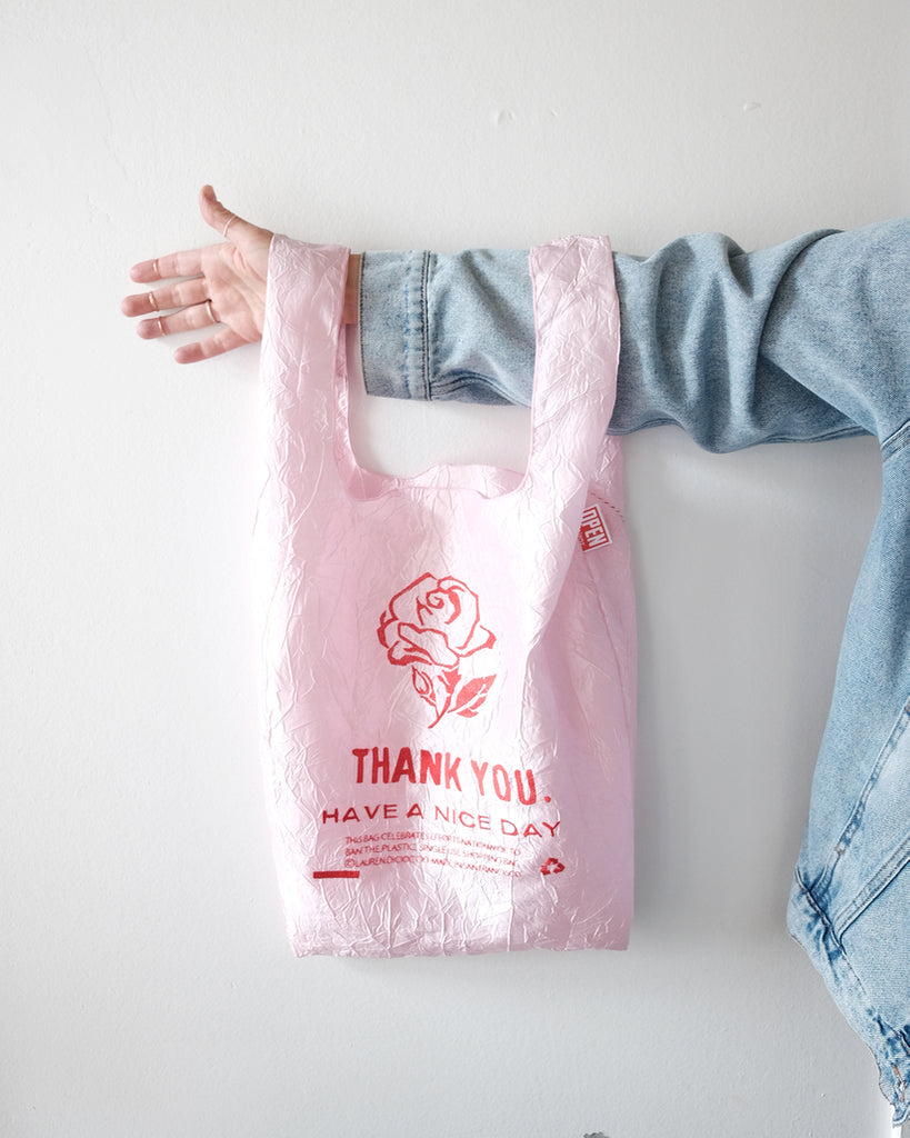 Thank You Tote, Pink Taffetta Rose