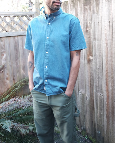 Cotton Denim Short Sleeve Button Down