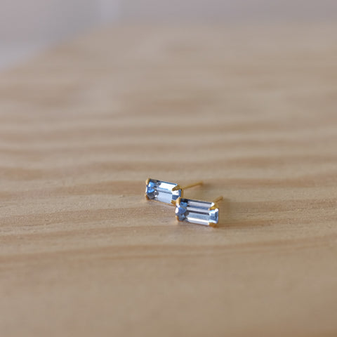 Baguette Crystal Studs, Light Blue