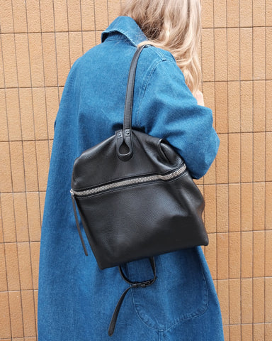 KARA Backpack, Black Pebble Leather