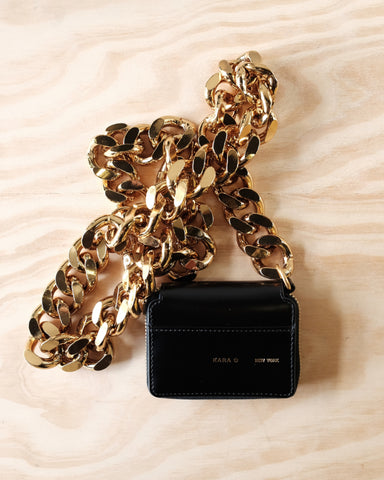 Bike Wallet, Gold Tone Chain