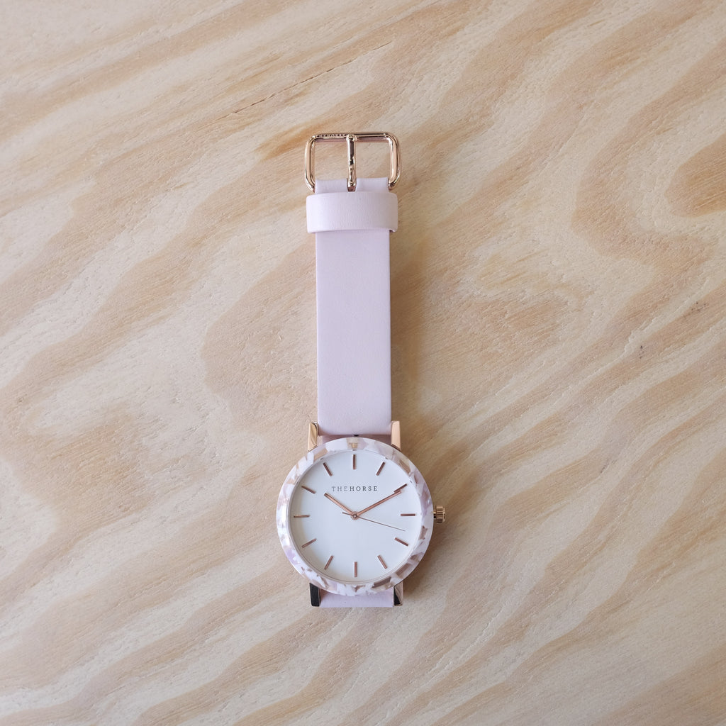 THE HORSE Resin / Pink Nougat / White Dial / Baby Pink Leather