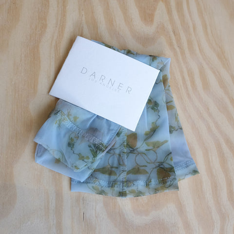 Darner Socks, Floral Powder Blue