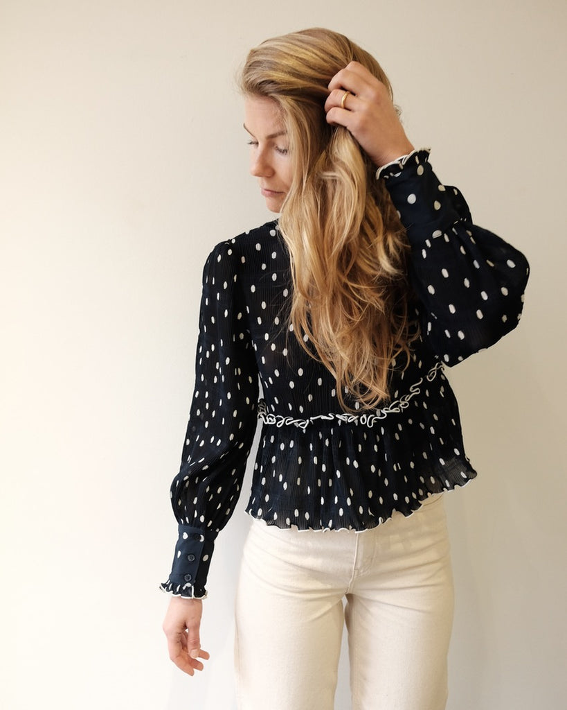 Lowell Blouse, Navy Eclipse
