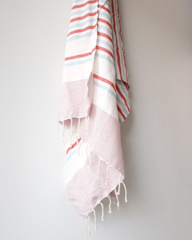 Turkish Beach Towel, Red Stripe
