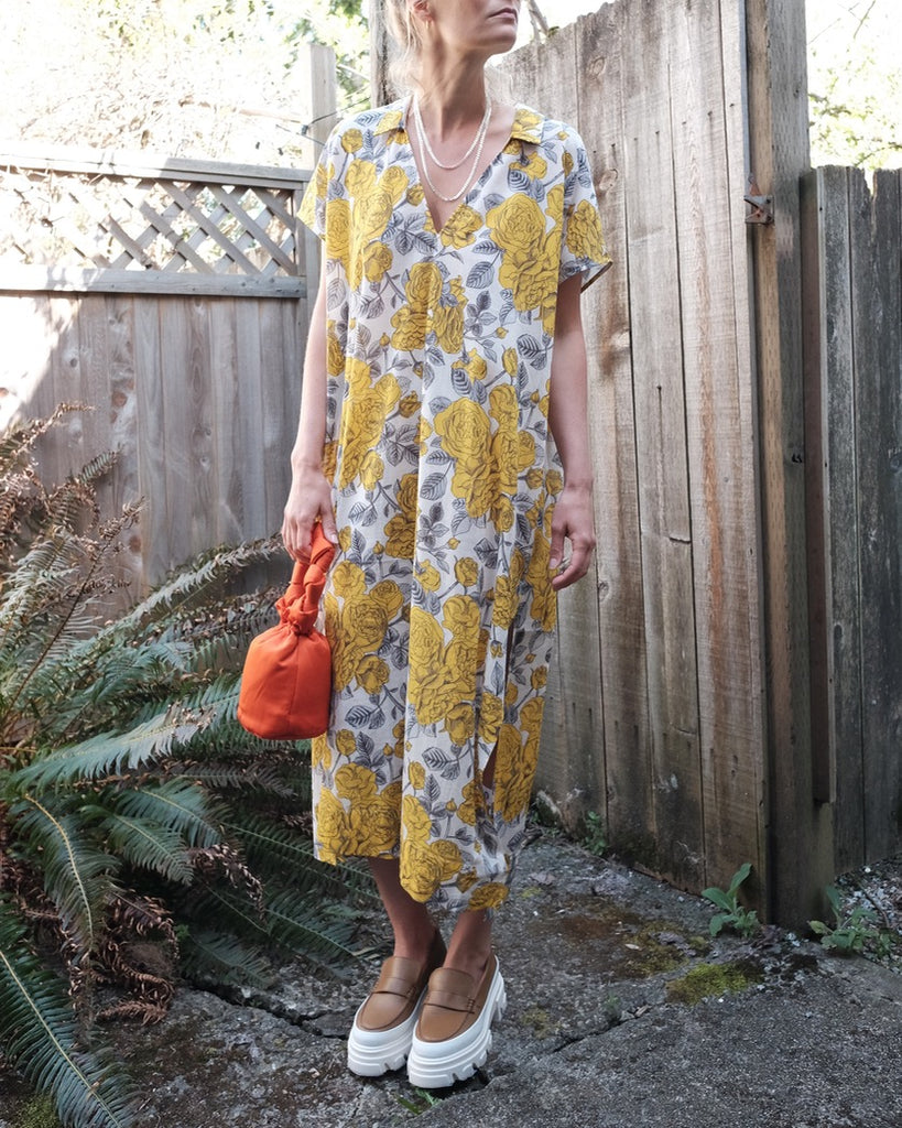 Kaftan Dress, Yellow Floral