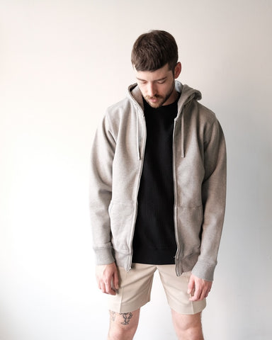 JP Zip Hooded Sweatshirt, Heather Grey