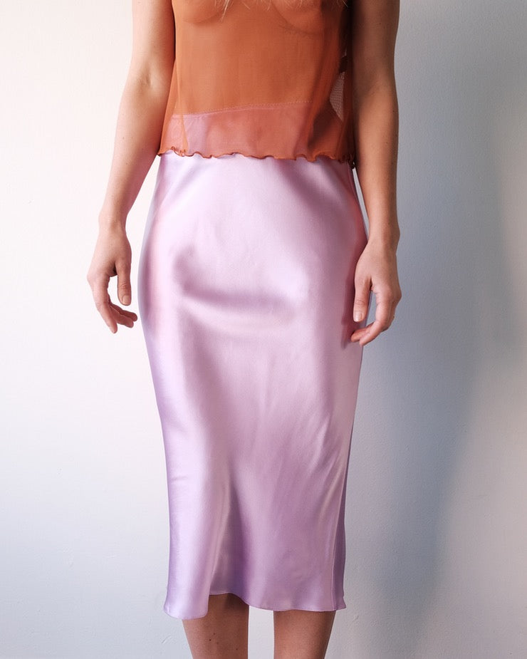 Slip Skirt, Violet Silk