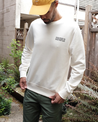 Hugh Info Crewneck Sweatshirt, Off White