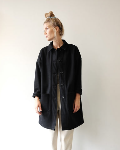 Melton Navy Long Coat