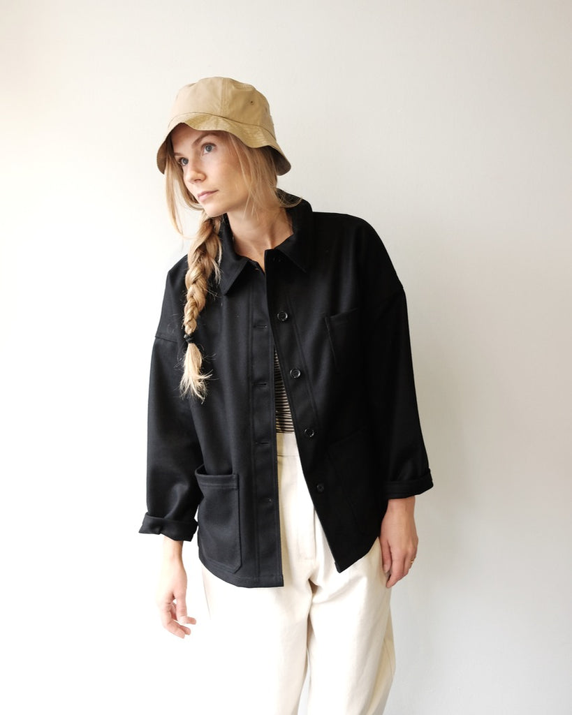Melton Black Short Coat