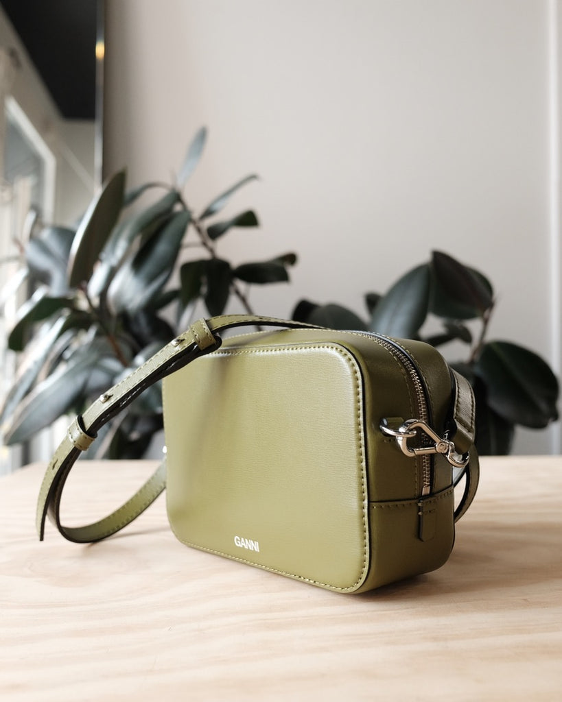 Textured Leather Bag, Avocado