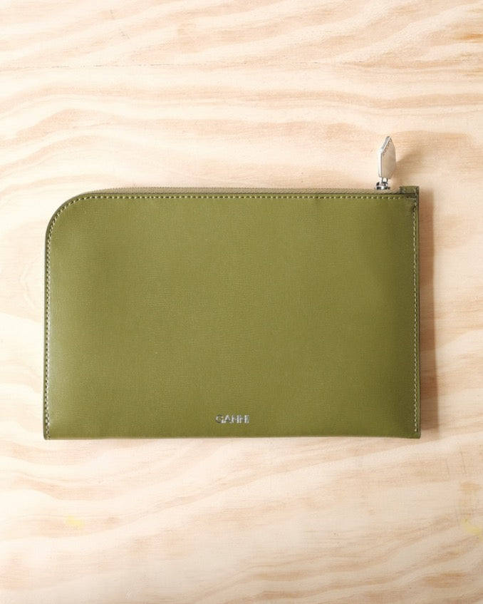 Textured Leather Pouch, Avocado